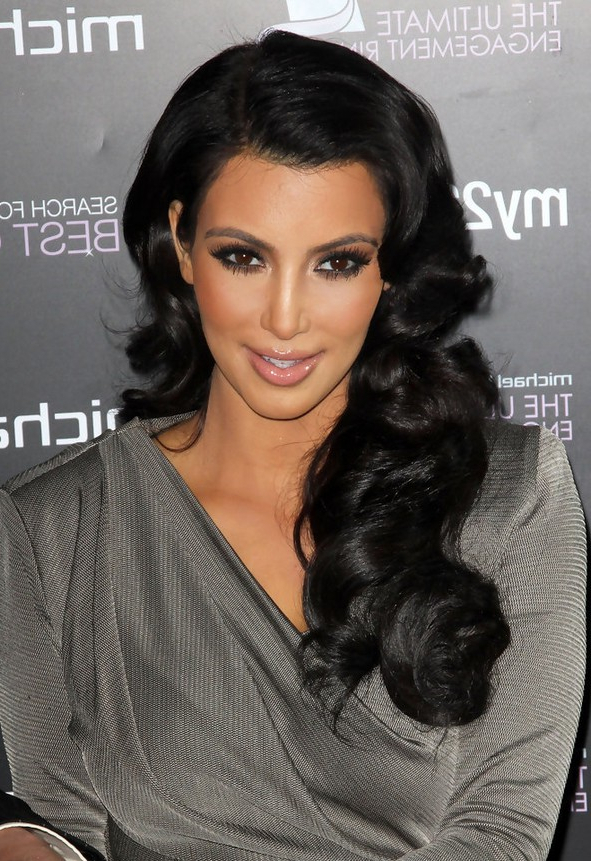 Kim Kardashian Long Black Hairstyle With Retro Curls Intended For Retro Curls Hairstyles (View 21 of 25)