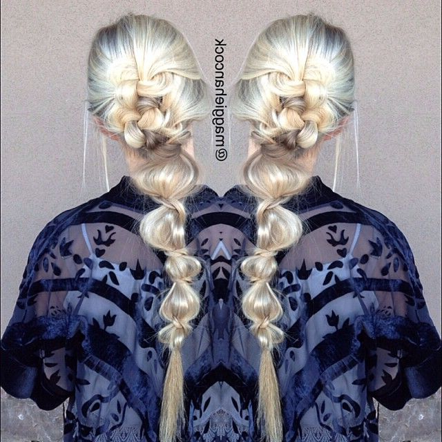 Knotty Messy Low Bubble Pony, One Of Our Favorites @jesslrau Intended For Bubble Pony Updo Hairstyles (View 6 of 25)