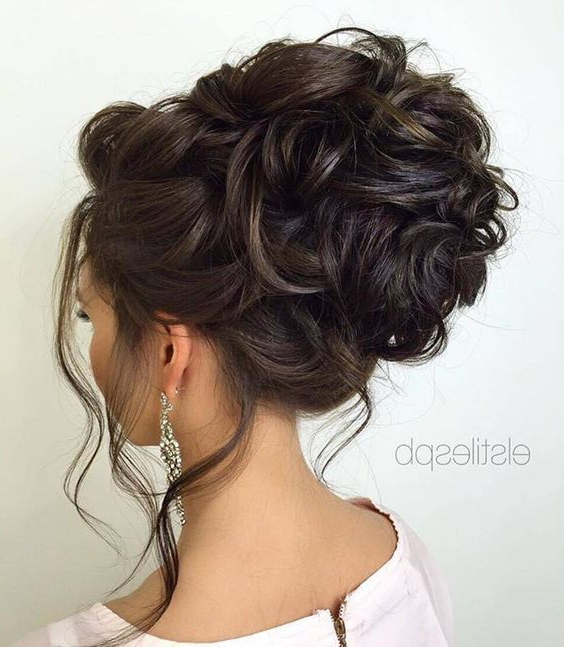 Loose Curly Updo Wedding Hairstyle | Wedding Hairstyles Intended For Curled Updo Hairstyles (View 7 of 25)