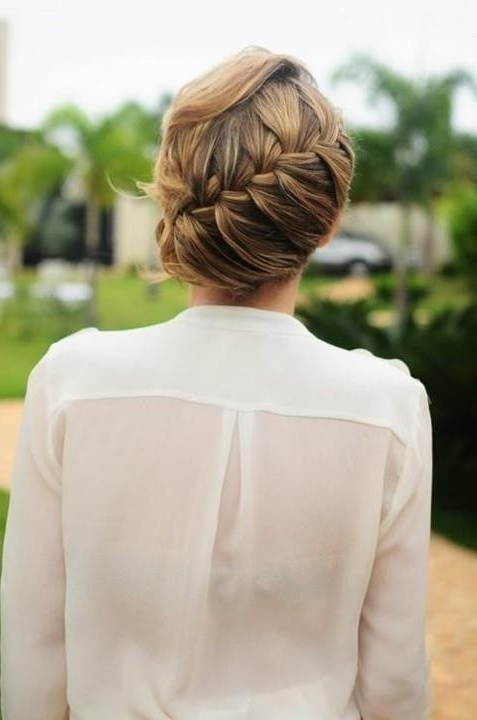 Low Bun Updos With French Braid – Popular Haircuts Within Current French Braid Low Chignon Hairstyles (View 6 of 25)