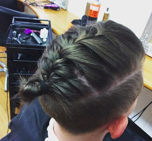 Man Braid Hairstyle Guide: New Braided Man Bun Trend – Man Regarding Recent Tapered Tail Braided Hairstyles (View 6 of 25)