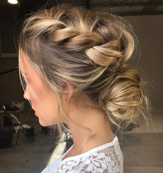 Mane Addicts The Best Updo Inspiration From Pinterest—Space Inside French Braid Buns Updo Hairstyles (View 24 of 25)