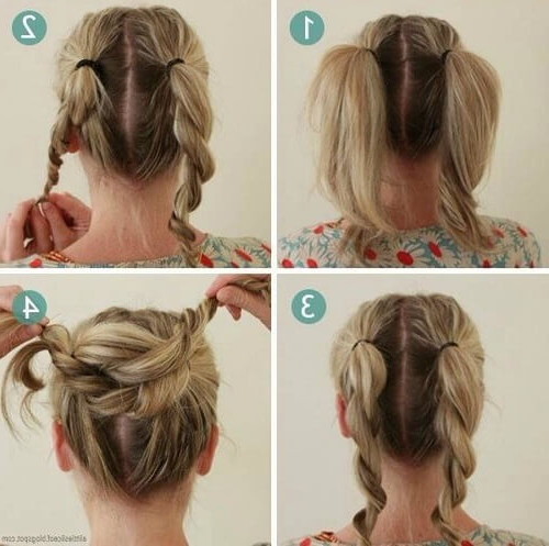 Medium Hair Updos That Are As Easy As 1,2,3: 60 Ideas To Diy With Regard To Double Twist Bun Updo Hairstyles (View 14 of 25)