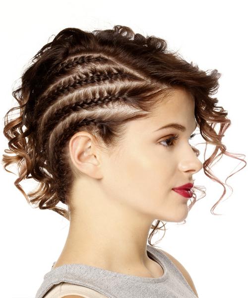 Medium Wavy Brunette Asymmetrical Updo With Side Swept Bangs Regarding Side Swept Braid Updo Hairstyles (View 20 of 25)