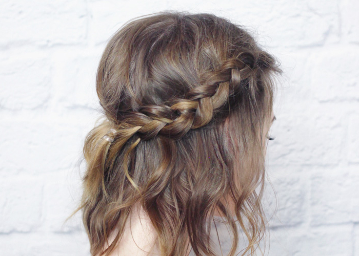 Messy Braided Crown For Shorter Hair Tutorial – Wonder Forest Within Latest Messy Crown Braided Hairstyles (View 6 of 25)