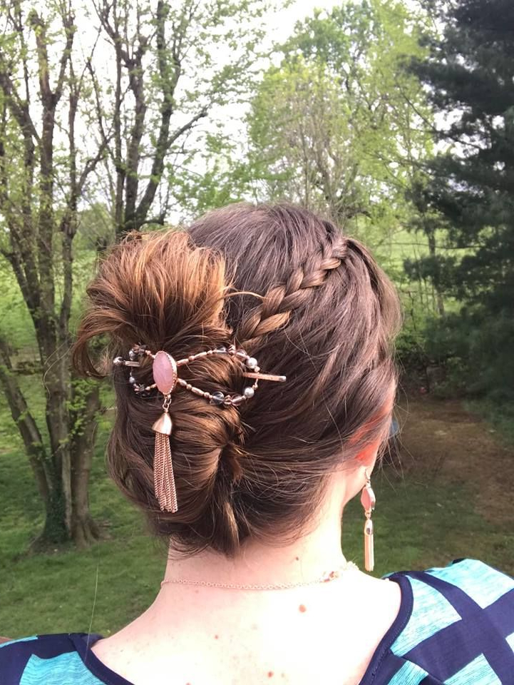 Messy Bun Secured With Flexi Hair Clip That Dangles And Is In Blinged Out Bun Updo Hairstyles (View 14 of 25)