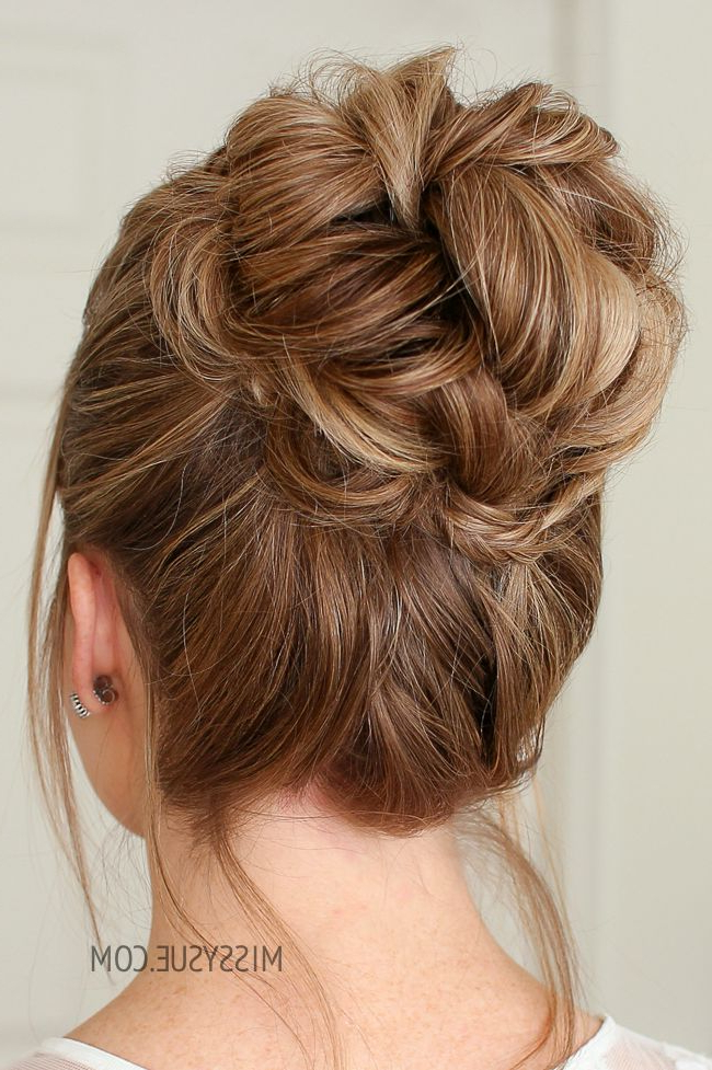 Mini Braid Wrapped High Bun | Hair Tutorials | High Bun Intended For Topknot Hairstyles With Mini Braid (View 12 of 25)