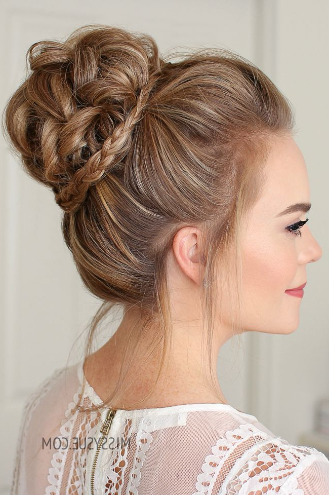 Mini Braid Wrapped High Bun | Hair Tutorials | Wedding Intended For Mini Braided Buns Updo Hairstyles (View 3 of 25)