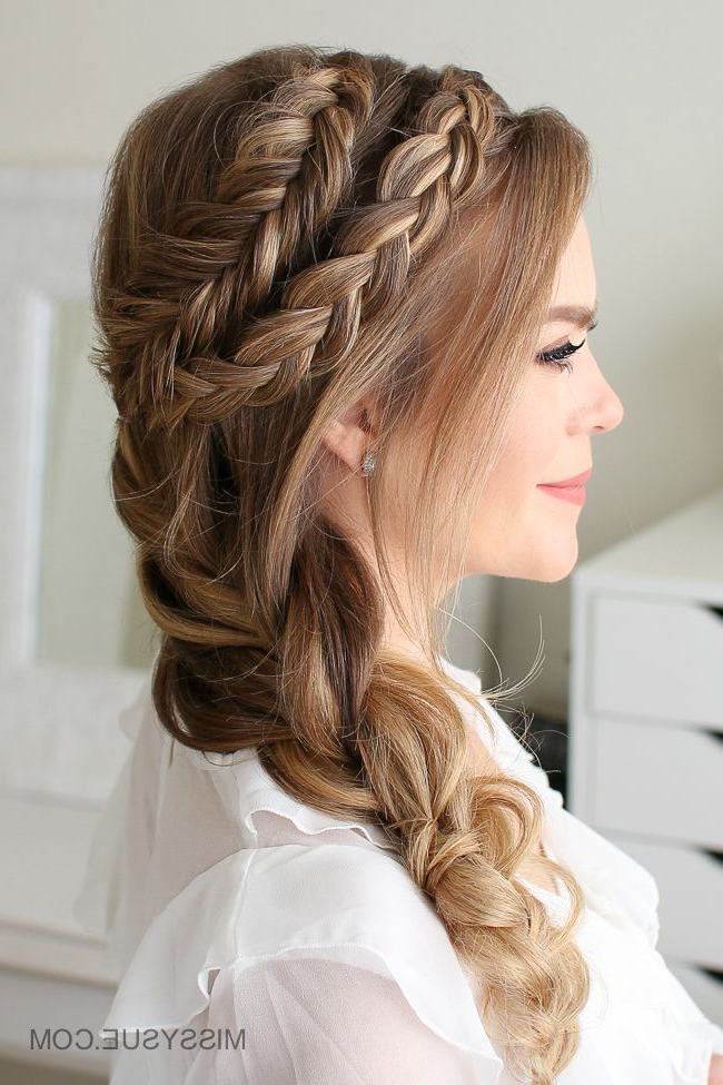 Mixed Dutch And Dutch Fishtail Braid 3 Ways | Hair | Side Within Most Up To Date Micro Braids In Side Fishtail Braid (View 13 of 25)