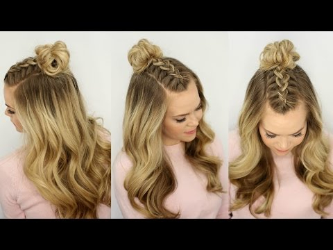 Mohawk Braid Top Knot | Half Up Hairstyle | Missy Sue – Youtube Regarding Topknot Hairstyles With Mini Braid (View 13 of 25)