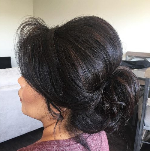 Mother Of The Bride Hairstyles: 26 Elegant Looks For 2019 Regarding Stacked Buns Updo Hairstyles (View 21 of 25)
