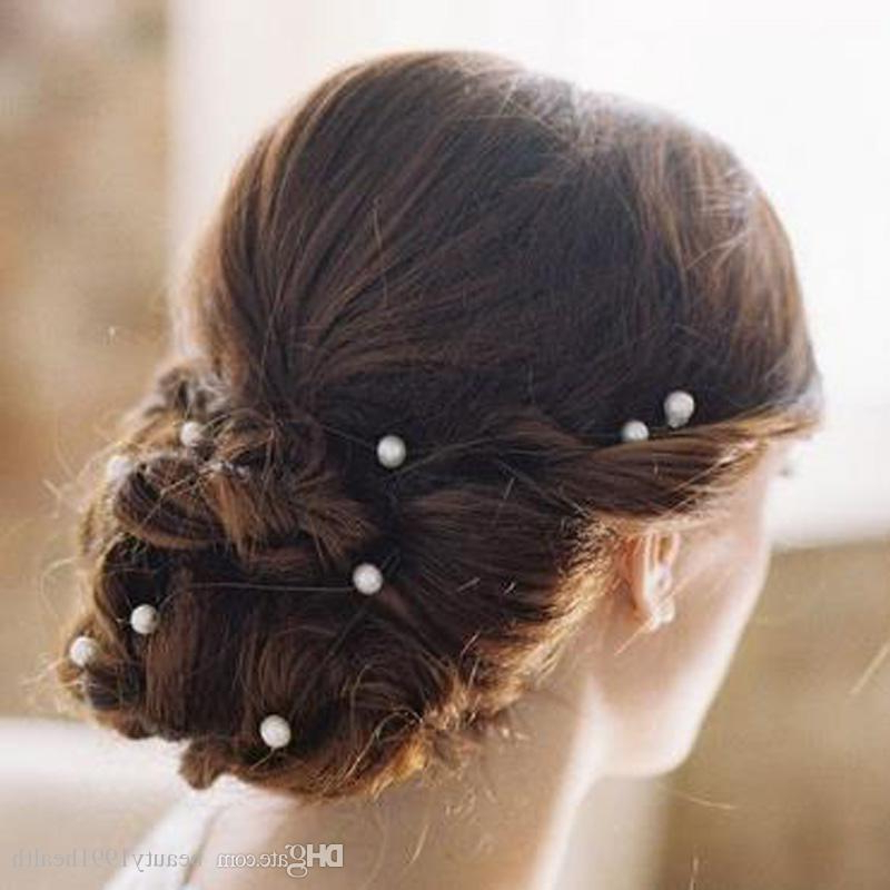 New Bridal Wedding Prom U Shaped White Pearl Hair Pins Bride Pearl Hair Clips Barrette Hairpins Hair Accessories With Regard To Pearl Bun Updo Hairstyles (View 11 of 25)