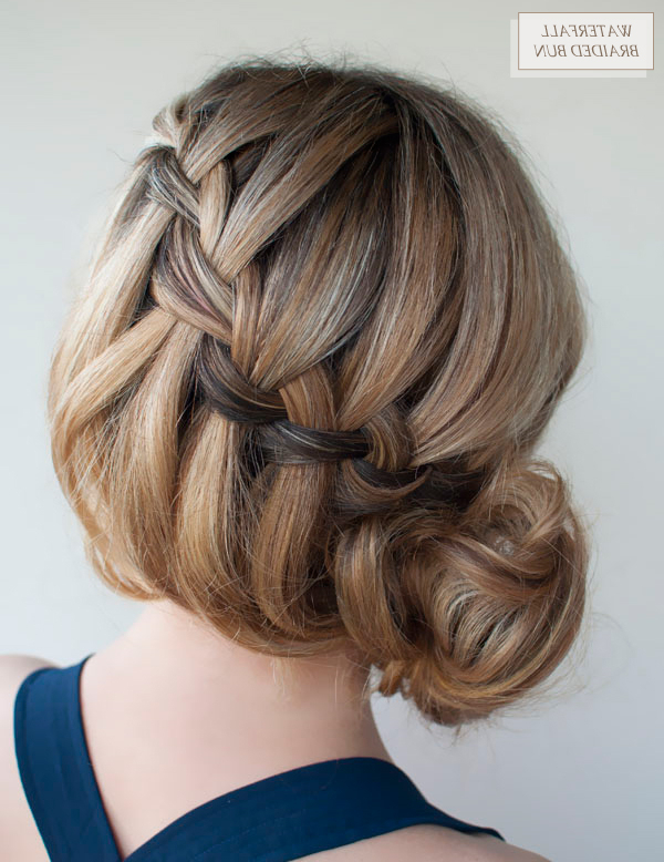 Oh The Lovely Things: Diy Waterfall Braided Bunhair Romance Regarding Most Up To Date High Waterfall Braided Hairstyles (View 21 of 25)