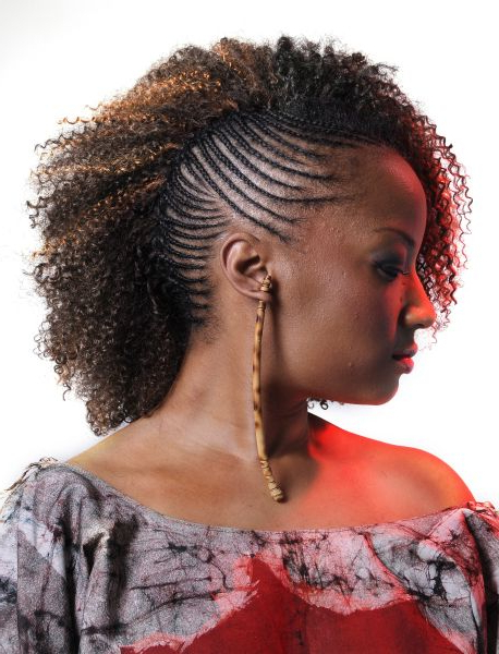 One Side Cornrows Braided Hairstyle | Black Girl Hairstyles With Recent Cornrow Fishtail Side Braided Hairstyles (View 4 of 25)