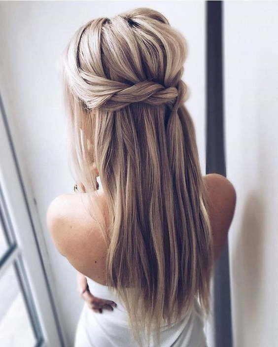 Picture Of A Dutch Braided Half Updo Hairstyle With Long In Braided Half Up Hairstyles (View 17 of 25)