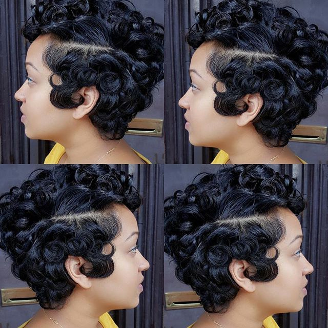 Pin Curls On Short Black Hair | Highlights Hair in Pinned Curls Hairstyles
