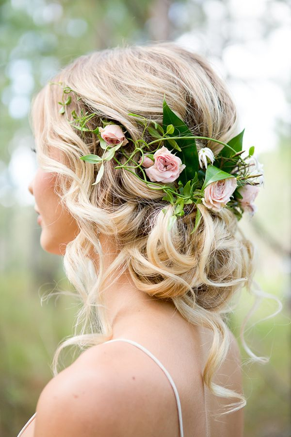Pin On Wedding Pertaining To Romantic Florals Updo Hairstyles (View 3 of 26)