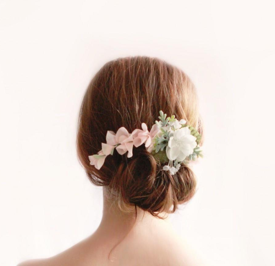 Pink And White Flower Clip, Floral Bridal Clip, Pastel Within Floral Bun Updo Hairstyles (View 13 of 25)