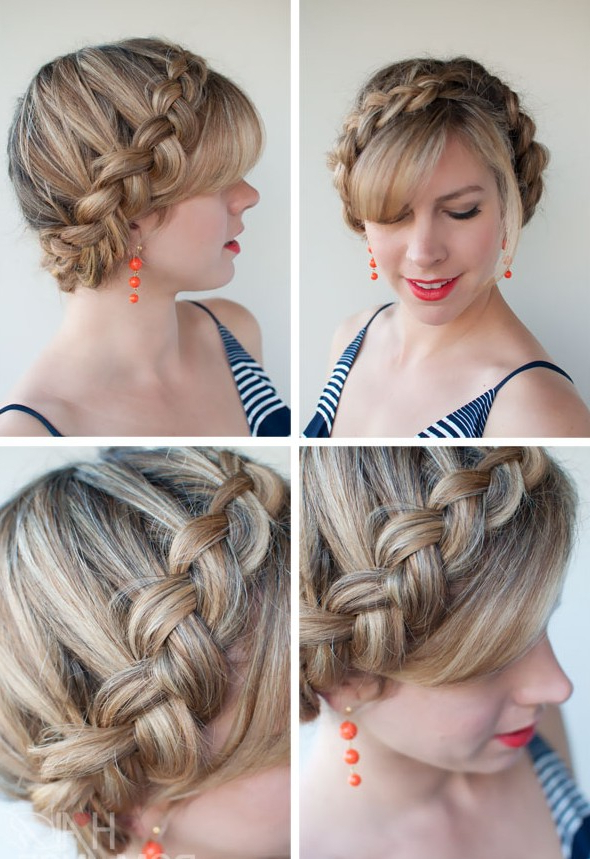 Popular Braided Hairstyles – The Dutch Crown Braid In Newest Halo Braided Hairstyles With Bangs (View 25 of 25)