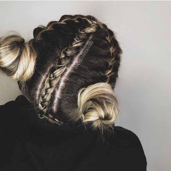 Quick How To Styling Video For Festival Season Hair Pertaining To Braided Space Buns Updo Hairstyles (View 12 of 25)