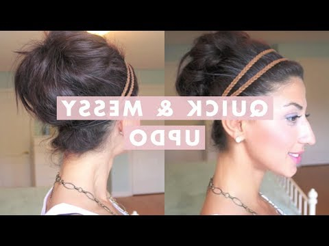 Quick & Messy Bun / Up Do – Youtube Throughout Messy Bun Hairstyles With Double Headband (View 10 of 25)