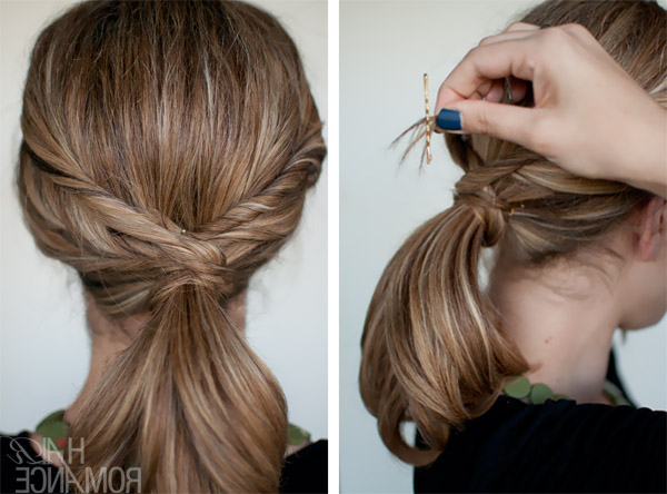 Quick Twisted Ponytail Hairstyle – Alldaychic For Zig Zag Ponytail Updo Hairstyles (View 13 of 25)