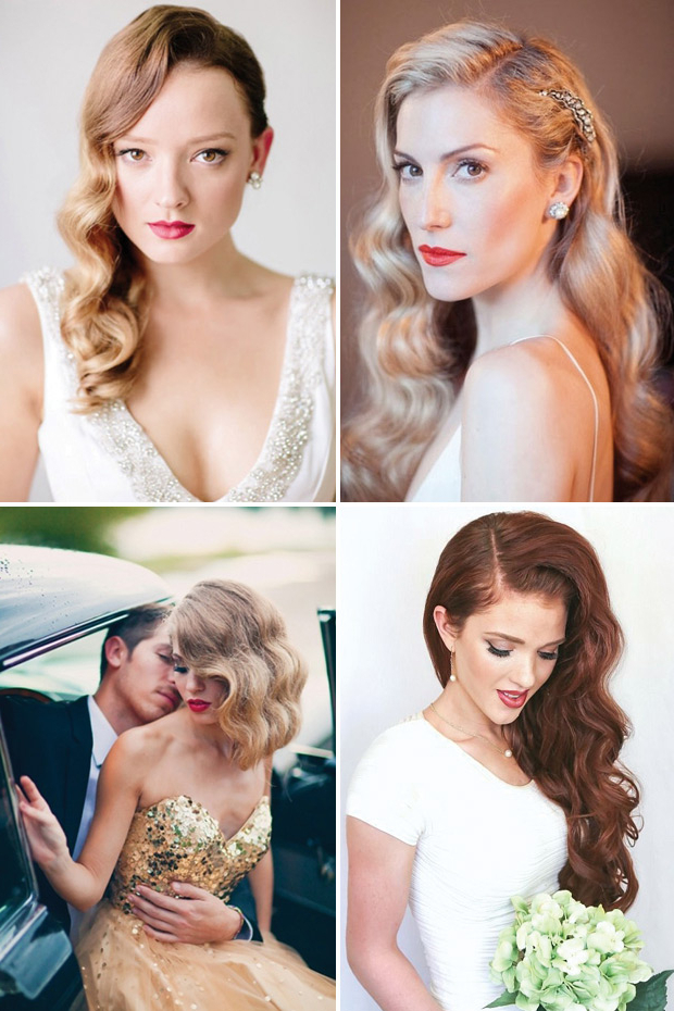 Retro Chic – 28 Vintage Wedding Hair Ideas | Onefabday For Glamour Waves Hairstyles (View 21 of 25)