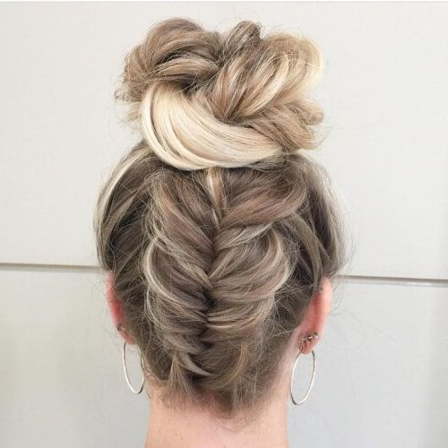 Reverse Fishtail Braid And Bun Hairstyles | Prom | Curly Regarding Reverse French Braid Bun Updo Hairstyles (View 3 of 25)