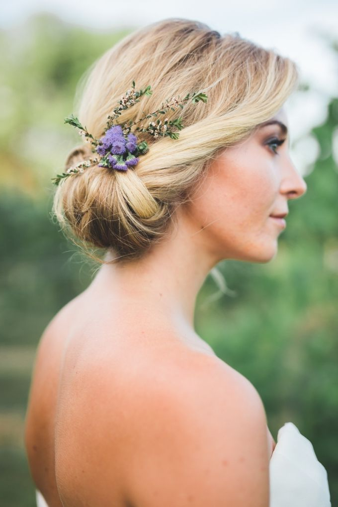 Romantic Lavender Wedding Inspiration | Bloggers' Best With Regard To Romantic Florals Updo Hairstyles (View 9 of 26)