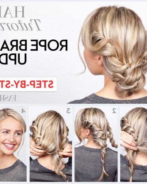 Rope Braid Tutorial: Learn How To Do This Twisted Updo In 4 Pertaining To Twisted Rope Braid Updo Hairstyles (View 2 of 25)