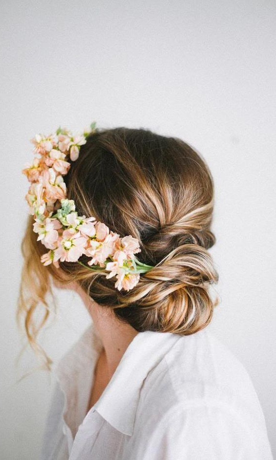 Rustic Updo Wedding Hairstyle – Medium Long Hair, Floral For Romantic Florals Updo Hairstyles (View 16 of 26)