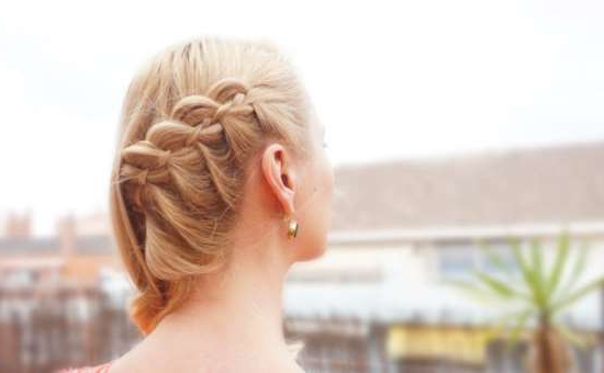 Side Swept 4 Strand Lace Braid Tutorial – Hairsaffairs Within Side Swept Braid Updo Hairstyles (View 14 of 25)