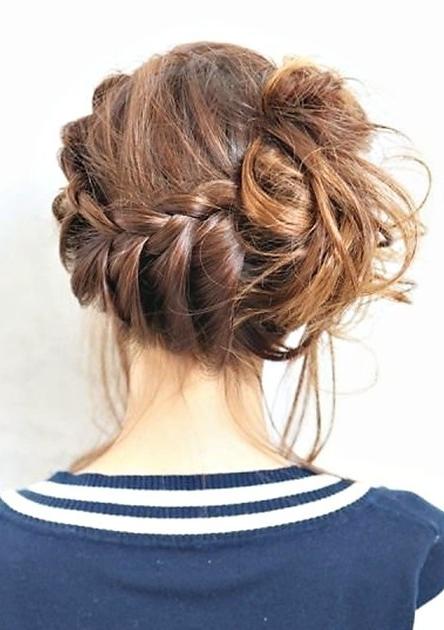 Sideswept Braid Updo Hair Styles – Popular Haircuts For Side Swept Braid Updo Hairstyles (View 4 of 25)