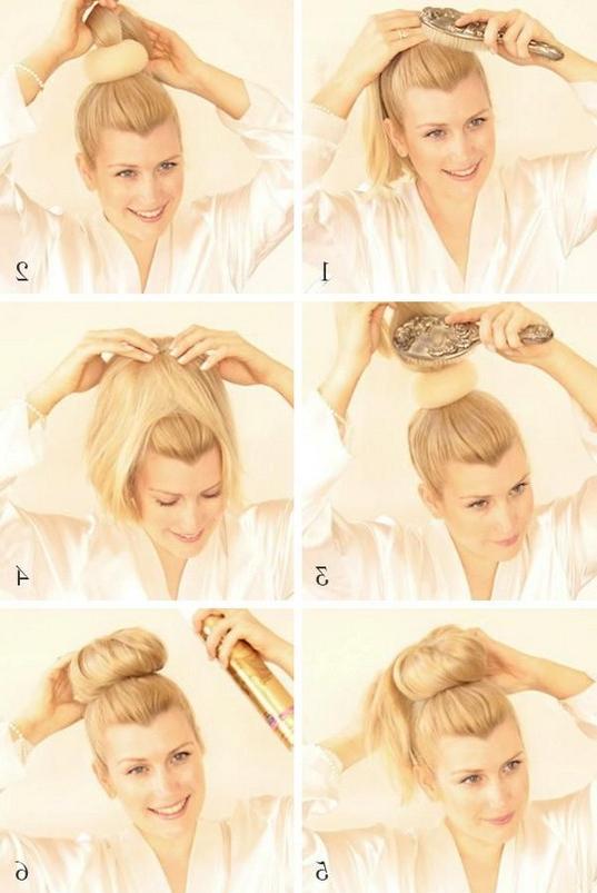 Sock Bun Tutorial For Long Hair: High Bun Updos – Popular With High Volume Donut Bun Updo Hairstyles (View 10 of 25)