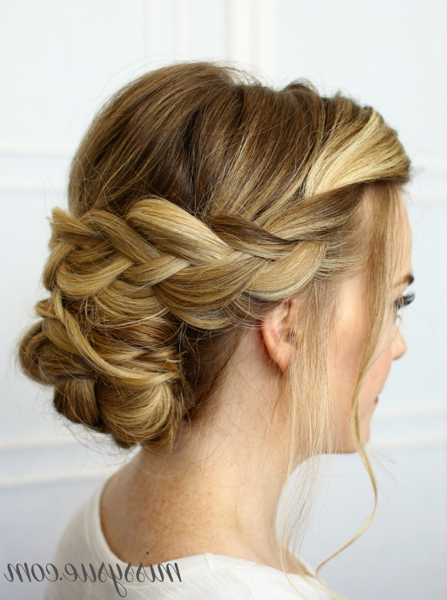Soft Braided Updo For Most Up To Date Braided Chignon Bun Hairstyles (View 13 of 25)