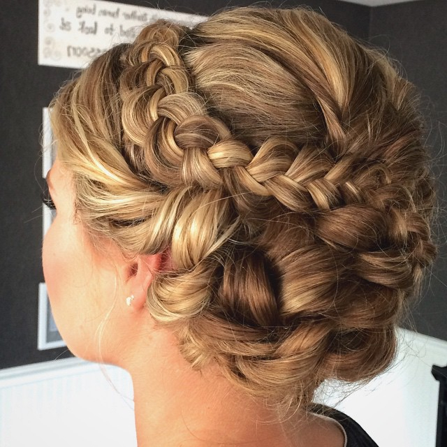 Soft Braided Updo With Braid And Side Swept Bun – Lexie Hair For Side Swept Braid Updo Hairstyles (View 8 of 25)