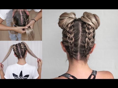 Space Buns – Double Bun – Upside Down Dutch Braid Into Messy Intended For Braided Space Buns Updo Hairstyles (View 2 of 25)