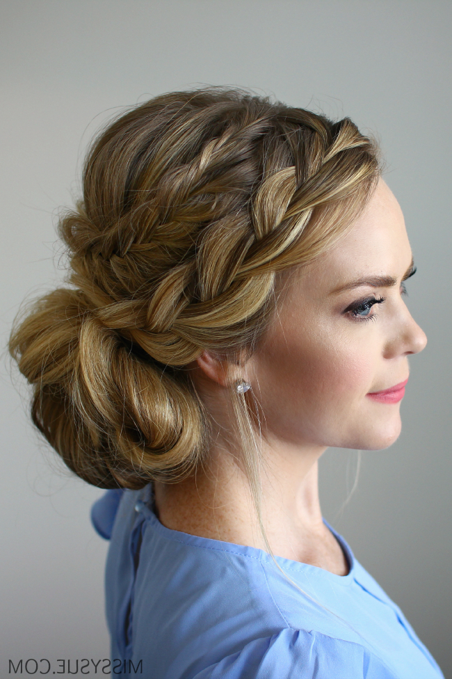 Stacked Fishtail French Braid Updo Inside Teased Fishtail Bun Updo Hairstyles (View 18 of 25)