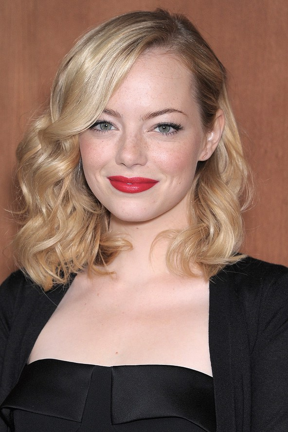 Stylenoted | Emma Stone's Pinned Back Curls For Pinned Back Side Hairstyles (View 15 of 25)