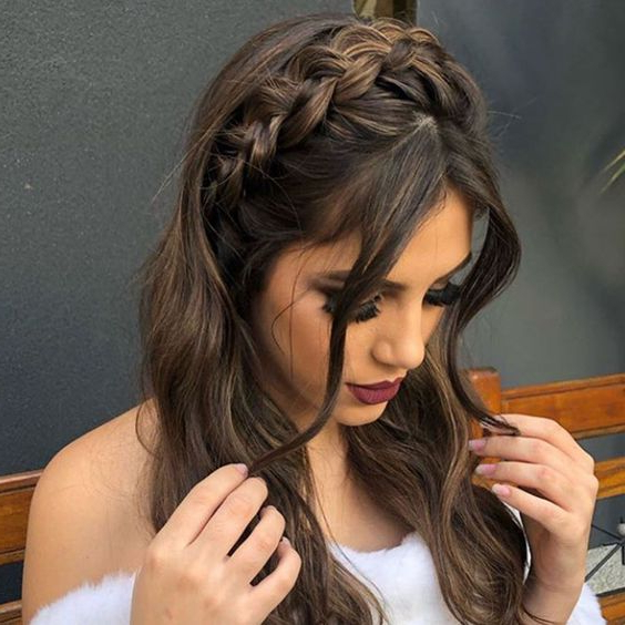 Stylish Prom Hairstyles Half Up Half Down For 2020 Halo Braided Hairstyles With Long Tendrils (View 7 of 25)