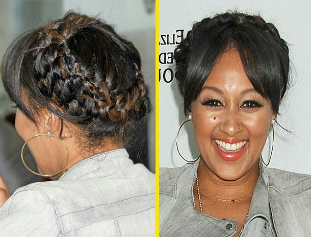Tamera Mowry Housley With A Goddess Braid And Bangs | Hair With Regard To Most Recently Halo Braided Hairstyles With Bangs (View 11 of 25)