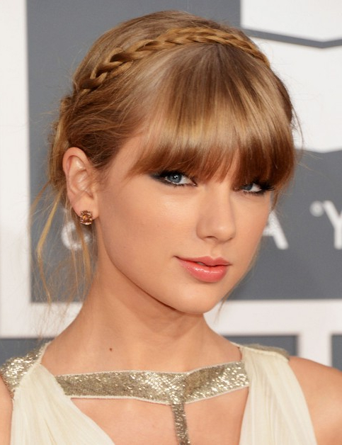 Taylor Swift Updo Hairstyles: Halo Braid – Popular Haircuts In Recent Halo Braided Hairstyles With Bangs (View 13 of 25)