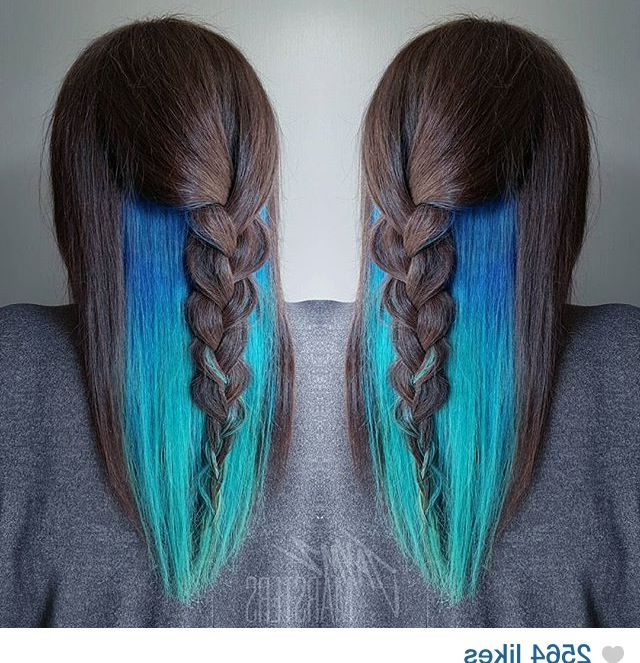 Teal/turquoise Waterfall Mermaid Peekaboo Hair Color | Cut Throughout Recent Peek A Boo Braided Hairstyles (View 2 of 25)