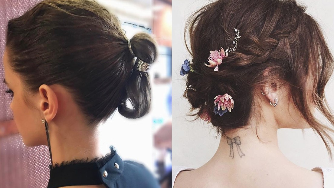 The 20 Best Updos For Short Hair | Glamour Intended For Stacked Mini Buns Hairstyles (View 17 of 25)