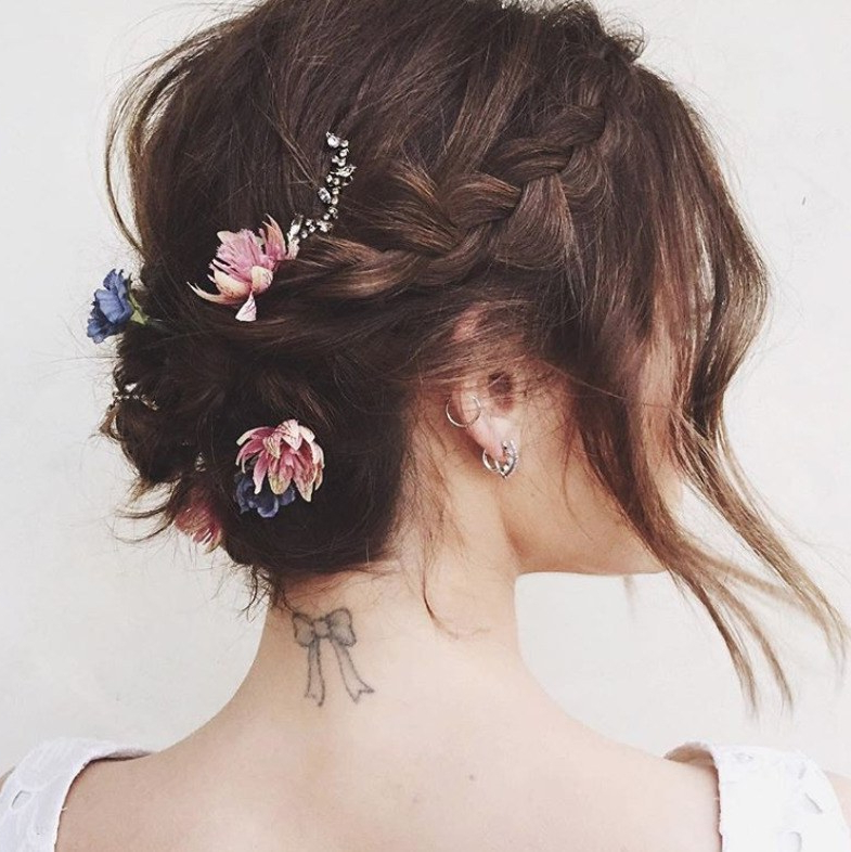 The 20 Best Updos For Short Hair | Glamour Within Stacked Buns Updo Hairstyles (View 15 of 25)