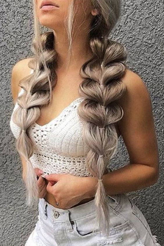The Best Bubble Braid Styles As Toldinstagram | Hair With Bubble Braid Updo Hairstyles (View 21 of 25)