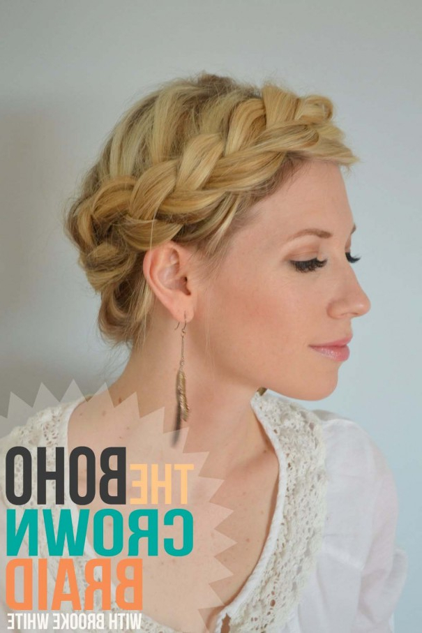 The Boho Crown Braid Tutorial – – Little Miss Momma Throughout Crown Braid Hairstyles (View 16 of 25)