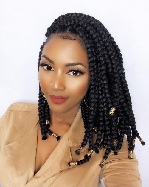 These 18 Jumbo Box Braids Are Incredibly Popular In 2019 Regarding Most Current Twisted Lob Braided Hairstyles (View 9 of 25)