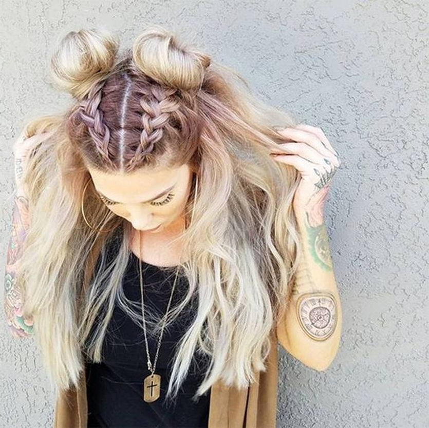 Trend Watch – Mohawk Braid Into Top Knot Half Up Hairstyles With Regard To Braided Space Buns Updo Hairstyles (View 23 of 25)