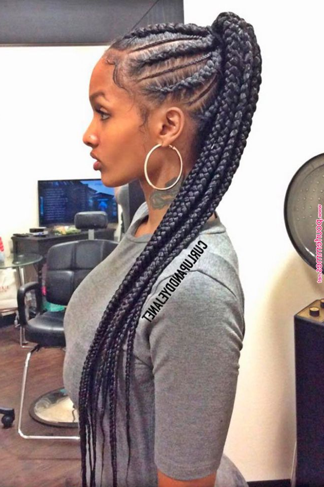 Trendy Ponytail Hairstyles I Lovehairstyles | Braided Throughout Cornrow Braids Hairstyles With Ponytail (View 13 of 25)